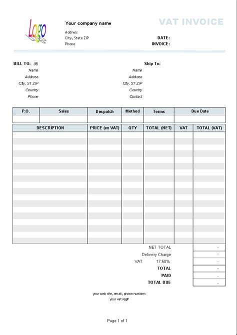 invoice with vat template invoice software software