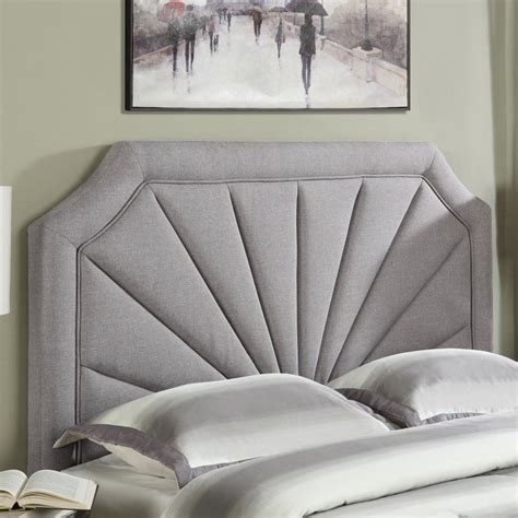 Silver Padded Headboard by Pri Fabric Upholstered Fan Panel Headboard In Hayden