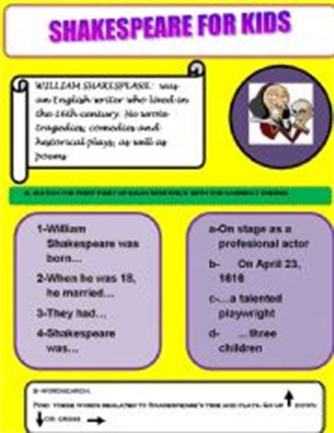 shakespeare biography for elementary students english teaching worksheets william shakespeare
