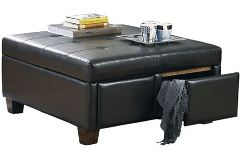 storage ottoman with drawers durahide ottoman with drawers signature design by ashley