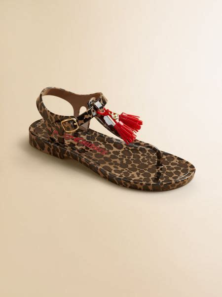 brown jelly sandals couture leopard tasseled jelly sandals in