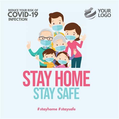 plantilla de quedarse en casa permanecer seguro folleto de