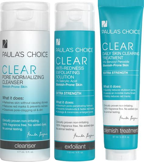 Paulas Choice Clear Kit Strenght Travel Size paula s choice clear regular strength acne kit 2 salicylic acid 2 5 benzoyl
