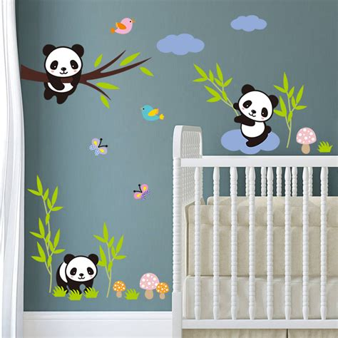 DIY Forest Panda Bamboo Birds Tree Sky baby bedroom wall stickers for kids room cartoon gift