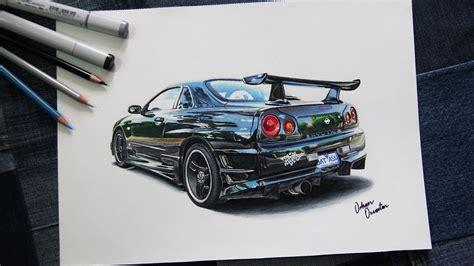 nissan gtr skyline drawing nissan gtr skyline r34 black rear car drawing