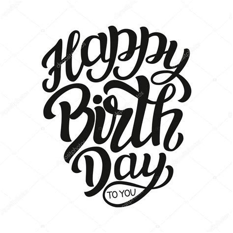 typography template happy birthday typography lettering template stock