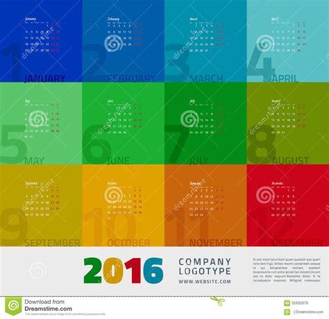 graphic design calendar templates year calendar 2016 stock vector image 55932079
