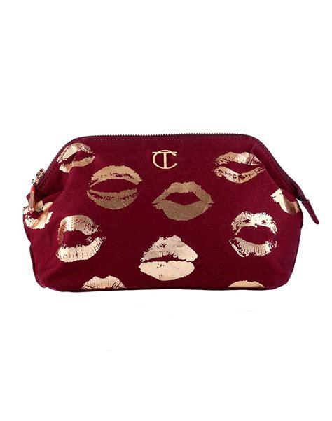 Lalang Cosmetic Makeup Bag Gold burgundy lip printed makeup bag 3rd edition