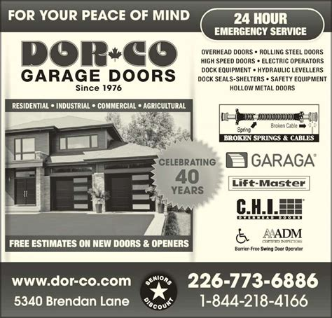 Ads Garage Doors Dor Co Garage Doors Oldcastle On 5340 Brendan Rr 1 Canpages