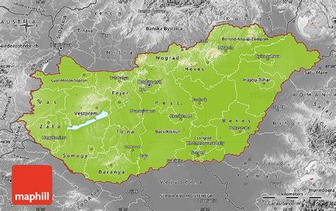 physical map of hungary physical map of hungary desaturated