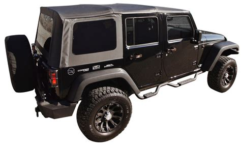 Soft Top Jeep Wrangler Unlimited 2007 2009 Jeep Wrangler Unlimited 4 Door Replacement Black
