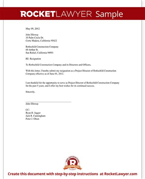 director letter of resignation director resignation letter template with sle