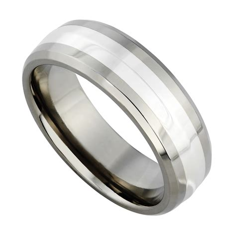 s titanium and silver 7mm ring