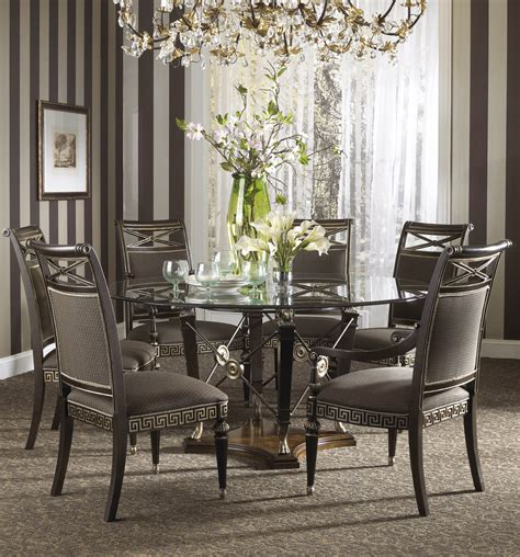 round glass dining room table sets buy the belvedere dining room set with ground glass table