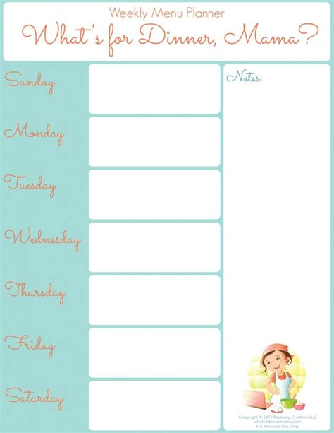 printable weekly planner menu printable weekly menu planner