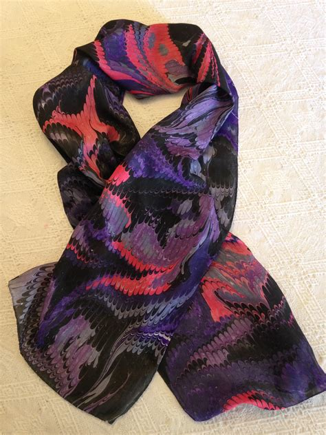 X Boy W Scarf 14 water marbled silk scarf from mayu silk