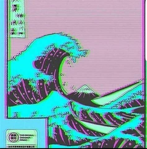 great wave  kanagawa vaporwave wallpaper