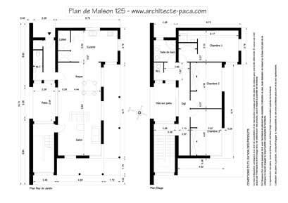 plan de maison toit plat 4 pièces villad'architecte 125