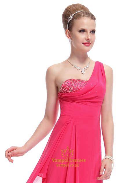 Shoulder Chiffon Dress pink one shoulder dress pink one shoulder chiffon