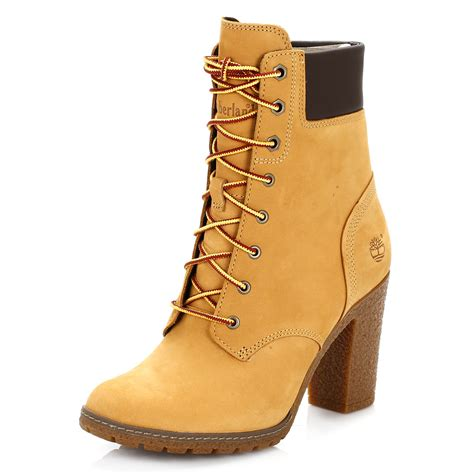womens high heel timberland boots timberland womens ankle boots wheat yellow glancy 6 inch
