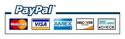 We accept pay pal visa master card american express discover card