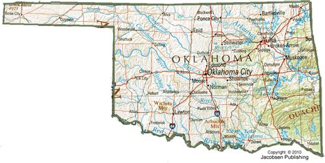 oklahoma state map ok shaded relief map fullscreen