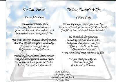 Letter Of Appreciation To My Pastor S Wife Pastor Amp Wife Personalized Poems Gift For Pastor