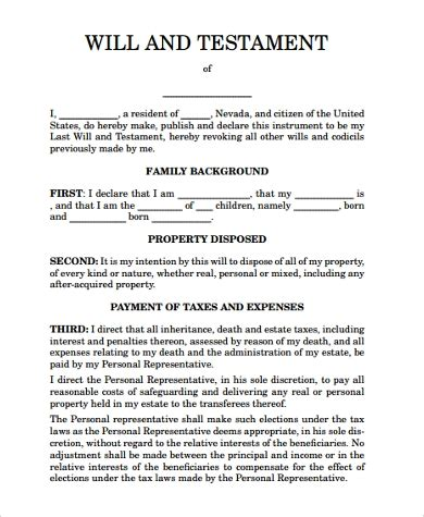 Sle Will Form 7 Free Documents In Pdf California Last Will And Testament Free Template