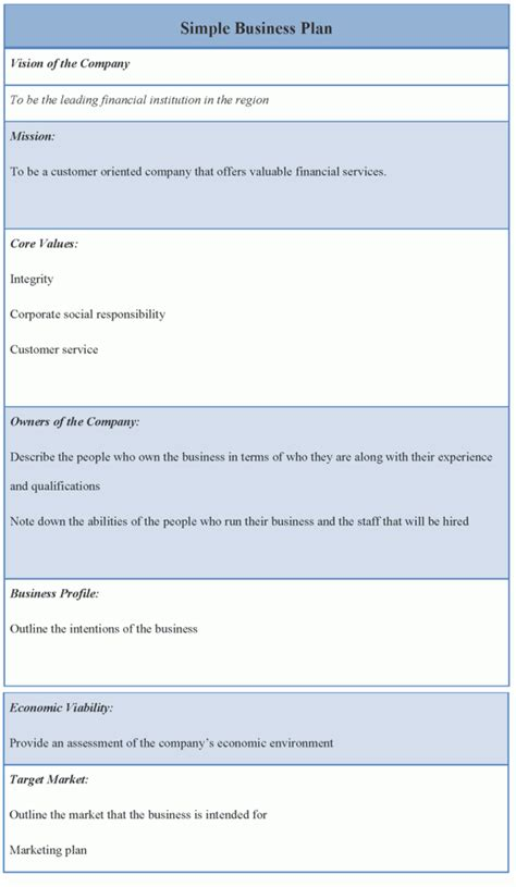 business template simple business plan exle of simple business plan