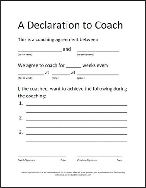 coaching contracts templates coaching agreement a simple sle coaching agreement