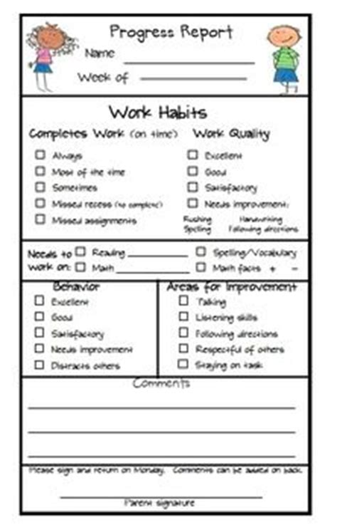 esl progress report template 25 best ideas about weekly behavior report on