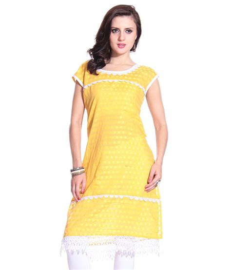 yellow kurti pattern grace designs yellow self cotton kurti with white lace
