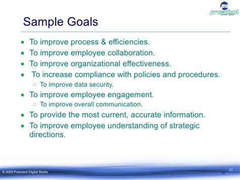 measurable goals and objectives template creating a measurable intranet strategy