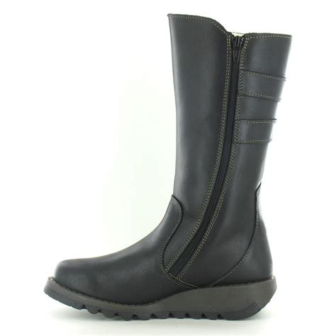 fly suli womens leather mid calf boots black