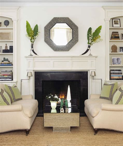 white black with a touch of green lovely living rooms
