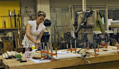 woodworking hobby a student works on an architecture project in the