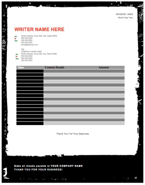 freelance writing invoice template freelance writing invoice template free studio