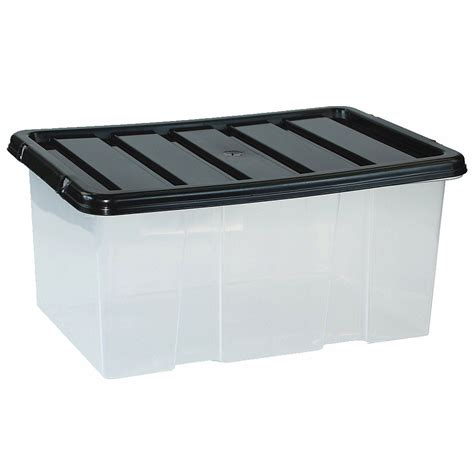 Clear Box 10 large plastic storage clear box with lid container made in u k set of 10 ebay
