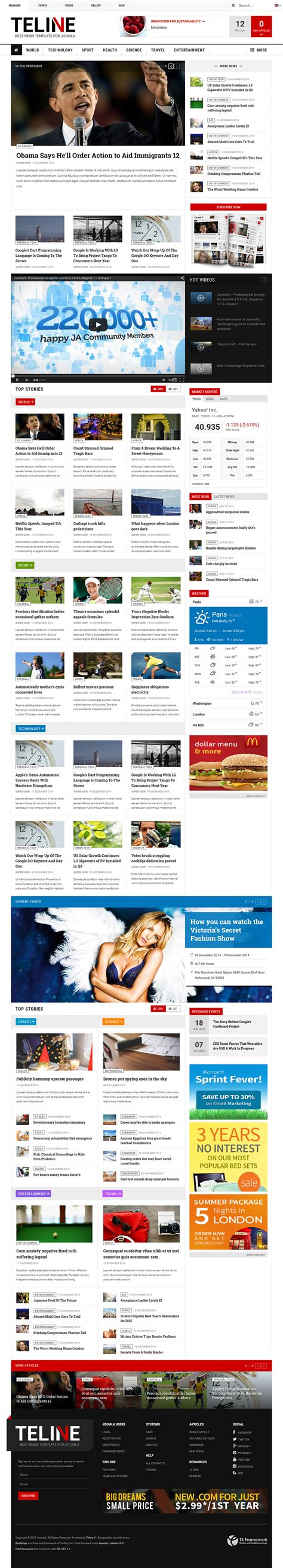 joomlart theme joomlart teline v v1 1 3 news template for joomla