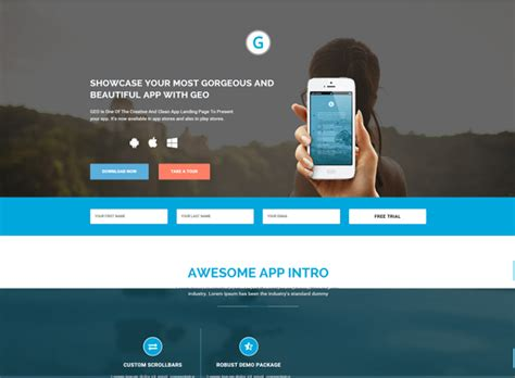 Bootstrap Landing Page Templates Free Premium Themes Bootstrap App Landing Page Template