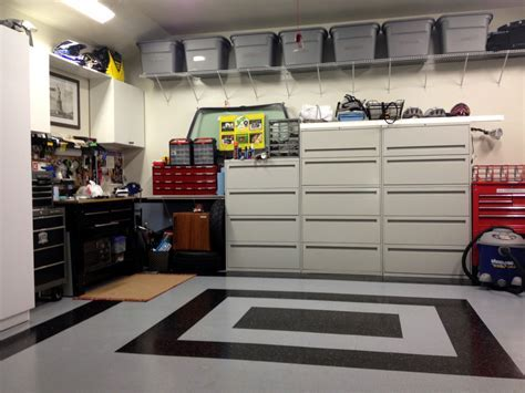 Small Garage Organization With Metal Cabinet, Mounted