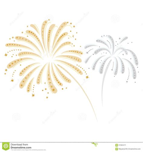 Vector Silver White silver and gold fireworks stock vector illustration of