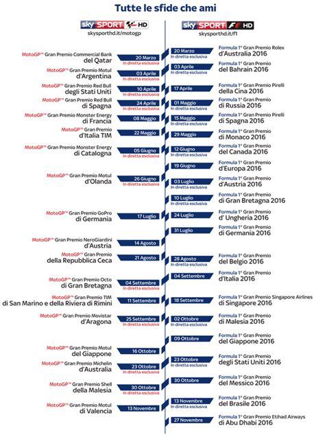 Calendario G P Formula 1 Motogp 2016 Programmazione Pay Tv Su Sky E Tv8 In Chiaro
