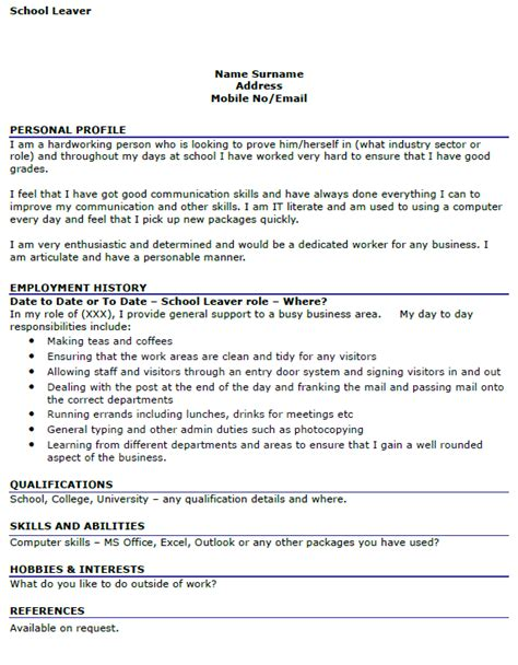 school leaver resume exle school leaver cv exle icover org uk