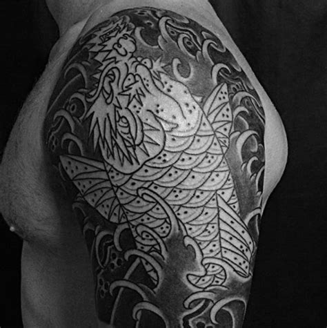 black and grey koi dragon tattoo 50 koi dragon tattoo designs for men japanese fish ink ideas