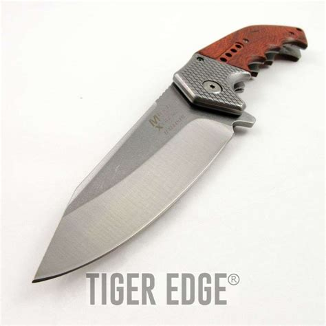 folding knife wood handle mtech large wood handle silver blade assist