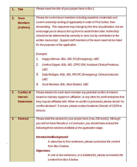 grant template pdf grant template 10 free word pdf documents