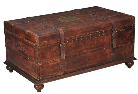 Wood Trunk Coffee Table 43 Quot W Italian Distressed Leather Trunk Coffee Table Wood Iron Brass Details Ebay