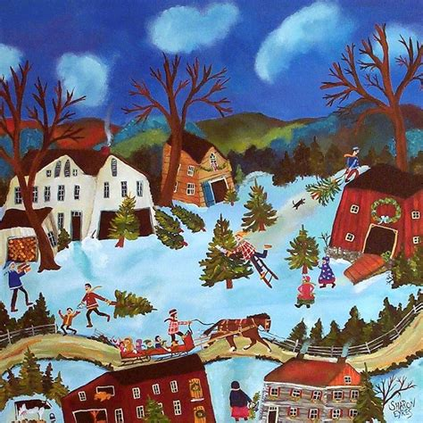 christmas tree folk art painting primitive folk art