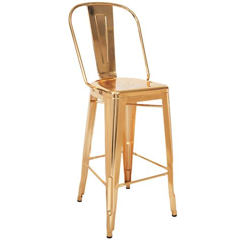 High Back Bar Stool Gold Finish Tolix High Back Bar Stool Metalrestaurantchairs